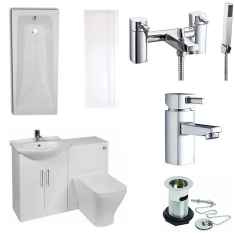 Verona F60S Complete Bathroom Furniture Suite 500mm WC Unit Bath Shower Mixer - Gloss White