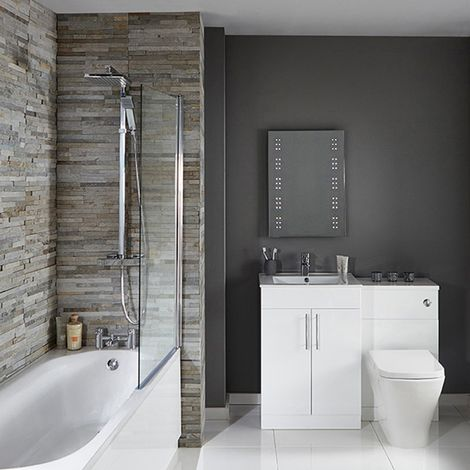 Verona F60S Complete Bathroom Furniture Suite 600mm WC Unit and Bath Shower Mixer - Gloss White