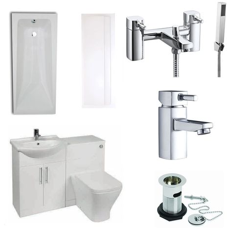 Verona F60S Complete Bathroom Furniture Suite 600mm WC Unit Bath Shower Mixer - Gloss White