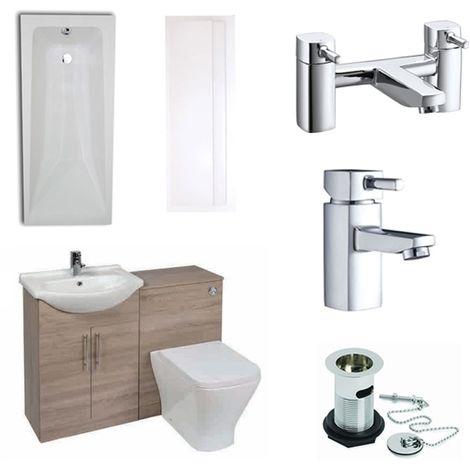 Verona F60S Complete Bathroom Furniture Suite with 500mm WC Unit and Bath Filler - Bordeaux Oak
