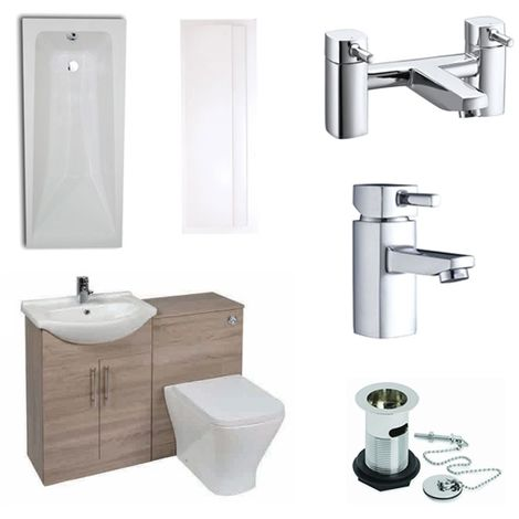 Verona F60S Complete Bathroom Furniture Suite with 600mm WC Unit and Bath Filler - Bordeaux Oak