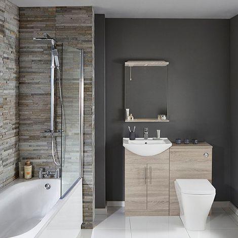 Verona F60S Modern Complete Bathroom Furniture Suite 500mm WC Unit Bath Shower Mixer Bordeaux Oak