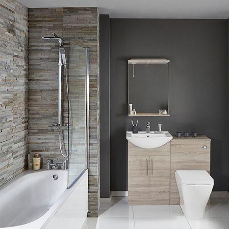 Verona F60S Modern Complete Bathroom Furniture Suite 600mm WC Unit and Bath Filler - Bordeaux Oak