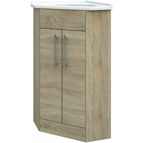 Verona Floor Standing Corner Vanity Unit with Basin 405mm Wide - Bordeaux Oak