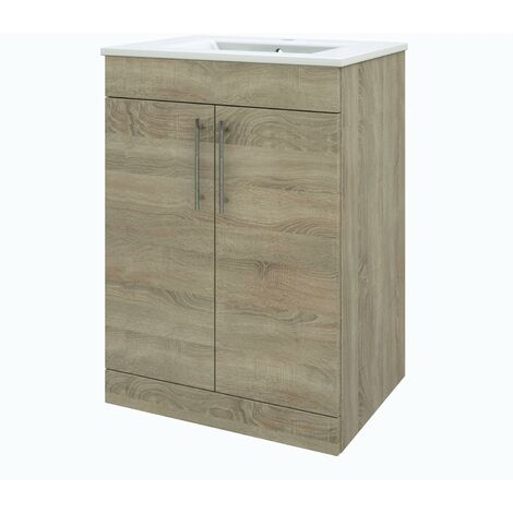Verona Floor Standing Vanity Unit with Basin 600mm Wide - Bordeaux Oak