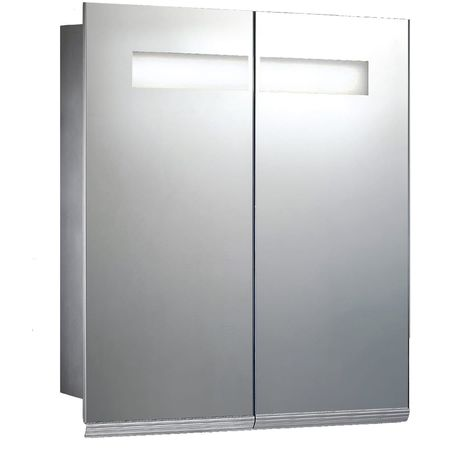 Verona Gibralter 2-Door Mirrored Bathroom Cabinet 600mm Wide with LED Light and Shaver Socket