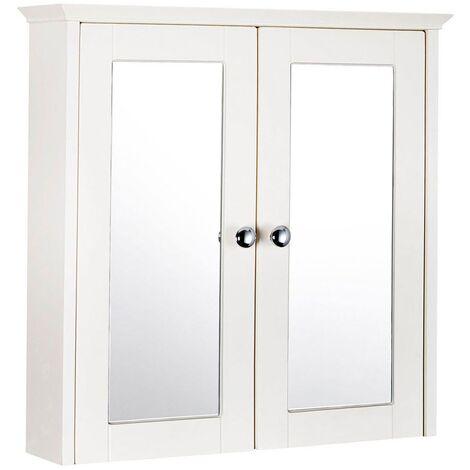 Verona Holborn 2-Door Mirrored Bathroom Cabinet 650mm H x 650mm W - Crema