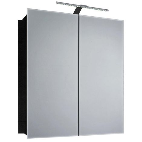 Verona Howden 2-Door Mirrored Bathroom Cabinet 600mm Wide with LED Light and Shaver Socket