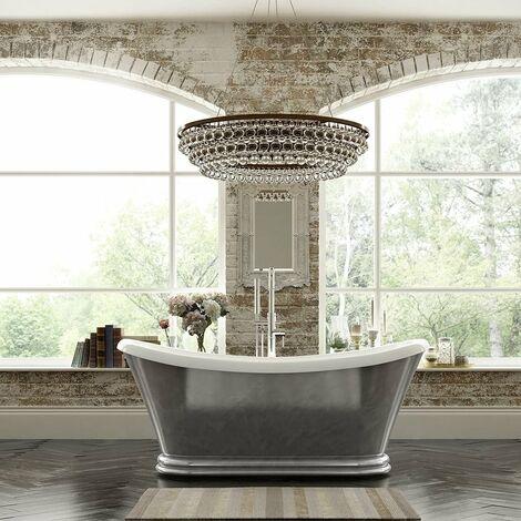 Verona Knightsbridge Freestanding Double Ended Bath 1700mm x 740mm - Scratched Aluminium Finish