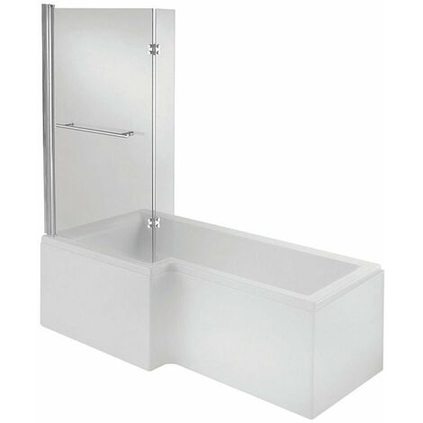 Verona L-Shaped Shower Bath with Panel and Screen 1700mm x 700/850mm Left Handed - Tungstenite