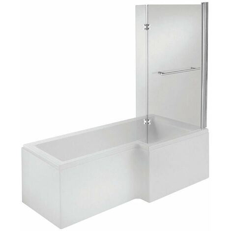 Verona L-Shaped Shower Bath with Panel and Screen 1700mm x 700/850mm Right Handed - Tungstenite
