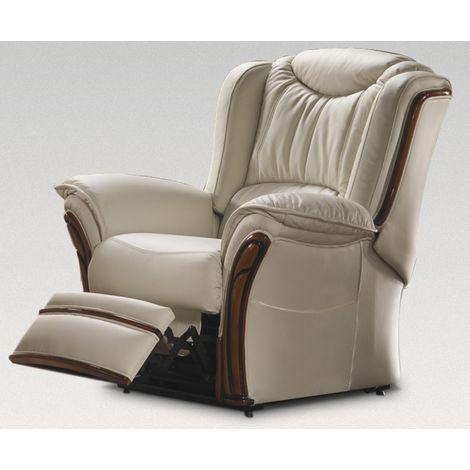 Verona Manual Reclining Armchair Sofa Genuine Italian Cream Leather Offer