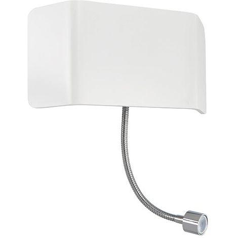 Verona Matt White Paint & Chrome Effect Plate 1Lt Wall Light & Flexi 7.5W & 1W