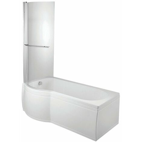 Verona P-Shaped Shower Bath with Panel Curved Screen 1700mm x 700/750mm Left Handed Tungstenite