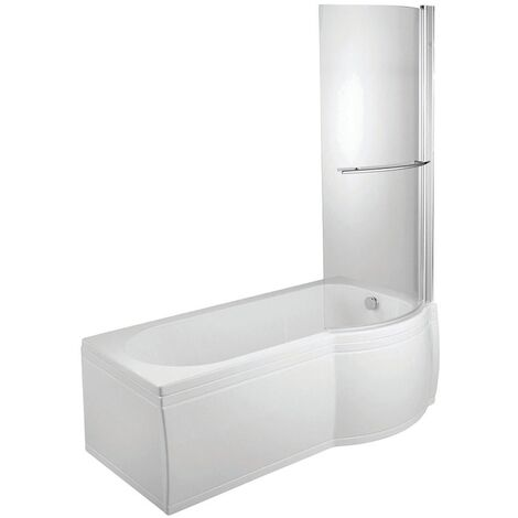 Verona P-Shaped Shower Bath with Panel Curved Screen 1700mm x 700/750mm Right Handed Tungstenite