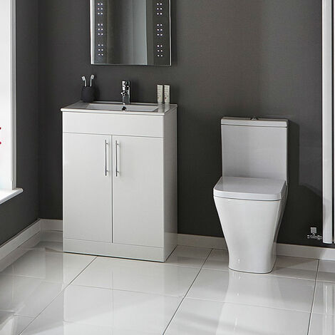 Verona Promenade Bathroom Cloakroom Suite Close Coupled Toilet 600mm Vanity Unit