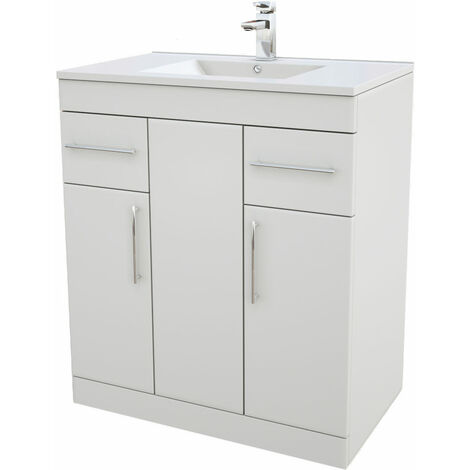 Verona Rialto Floor Standing Vanity Unit and Basin 750mm Wide White 1 Tap Hole