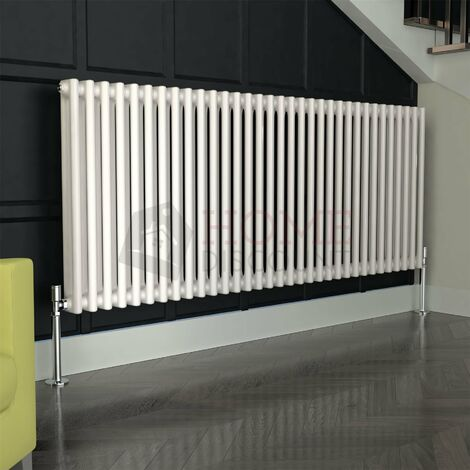 Verona Round 2 Column Traditional Radiator, 600 x 1485mm, White