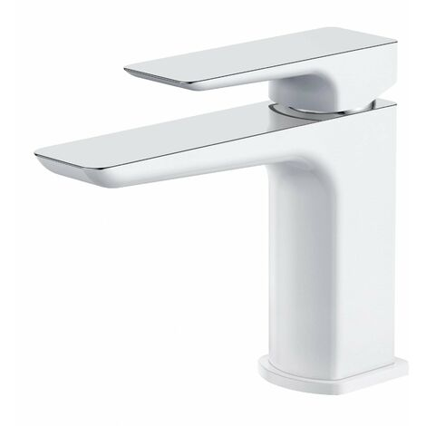 Verona Sabre Basin Mixer Tap with Sprung Waste - White and Chrome