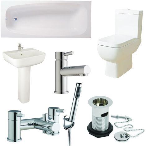 Verona Series 600 Complete Bathroom Suite with Bath Shower Mixer