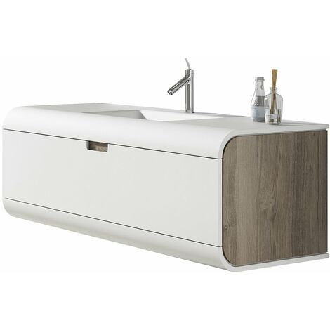Verona Sunne 1-Drawer Wall Hung Vanity Unit with Solid Surface Basin 600mm Wide - White/Oak