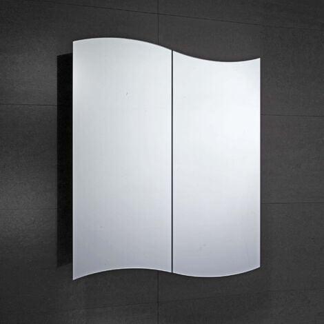Verona Tide 2-Door Mirrored Bathroom Cabinet 600mm Wide - Stainless Steel