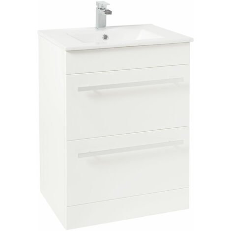 Verona Trevi Floor Standing Vanity Unit with Basin 600mm Wide White 1 Tap Hole