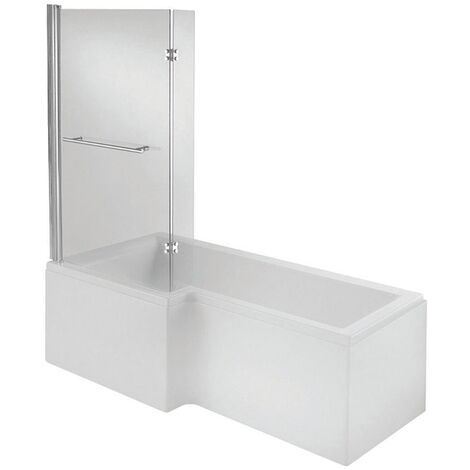 Verona Tungstenite L-Shaped Shower Bath with Panel and Screen 1700mm x 700/850mm Left Handed - Acrylic