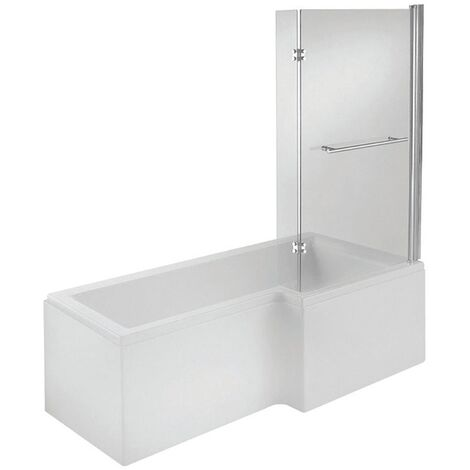 Verona Tungstenite L-Shaped Shower Bath with Panel and Screen 1700mm x 700/850mm Right Handed - Acrylic
