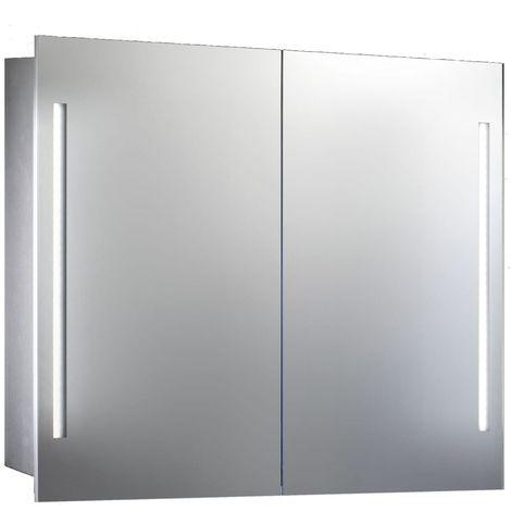 Verona Valletta 2-Door Mirrored Bathroom Cabinet 600mm Wide with LED Light and Shaver Socket
