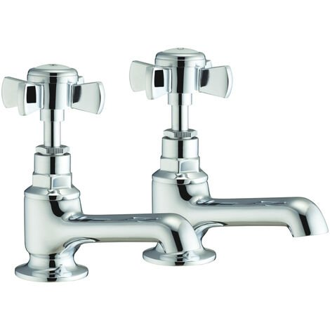 Verona Victorian Basin Taps Pair - Chrome