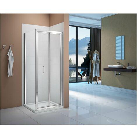 Verona Vivid Bi-Fold Shower Door with Square Shower Tray - 760mm Wide