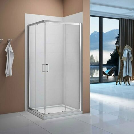 Verona Vivid Corner Entry Shower Enclosure 800mm x 800mm with Shower Tray - 6mm Clear Glass