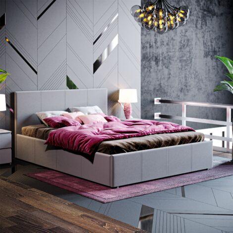 Veronica Double Ottoman Bed, Dark Grey Linen