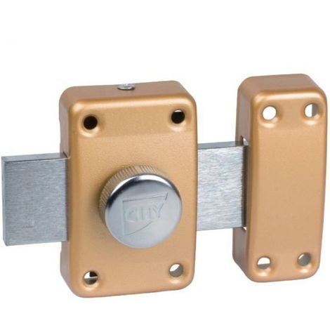 Verrou à bouton bronze s'entrouvrant n° KCF5501 - Cylindre 45 mm - Pêne 110 mm - City 25 - ISÉO