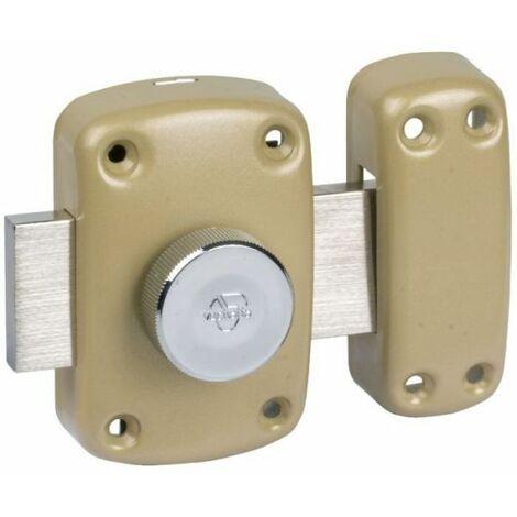 Verrou à bouton bronze s'entrouvrant n° U08925 - Cylindre 30 mm - Pêne 110 mm - Cyclop - Vachette