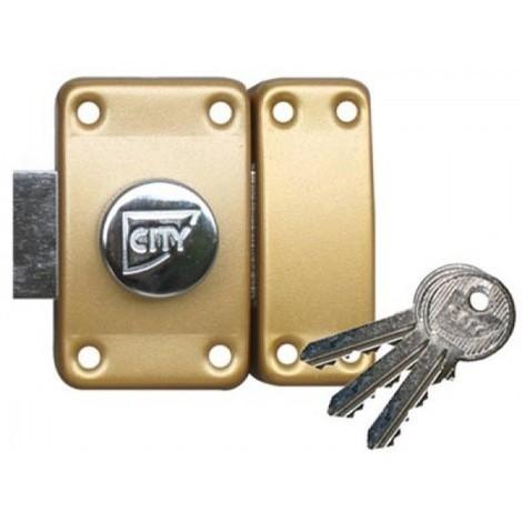 Verrou à bouton et cylindre utilisant les mêmes clés (s'entrouvrant) city 25 (3 clés) ISEO - plusieurs modèles disponibles