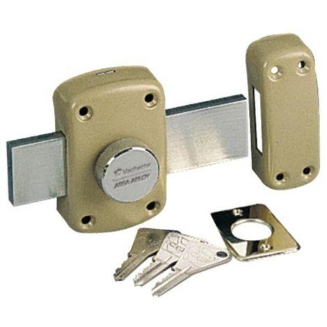 Verrou à bouton pour porte fine garage et cave Cyclop type 7600 - longueur du pêne 145 mm