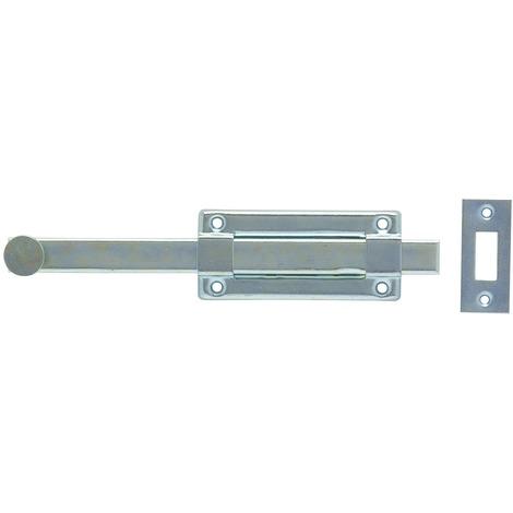 Verrou à coulisse H platine et gâche acier zingué Vachette - Longueur 18 cm