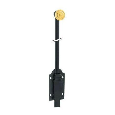 Verrou boîte fonte noire bouton laiton n°2 COUILLET - L.300 mm - VBF2.300