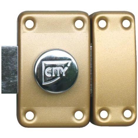 Verrou City 25 à bouton cylindre dépassant de 35 mm bronze