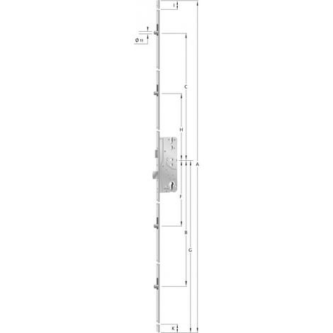 Verrou de porte As 8092 - brillant Galv. 2170mm