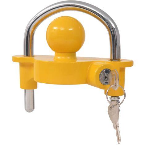 Verrou de remorque et 2 clés Acier et alliage d'aluminium Jaune