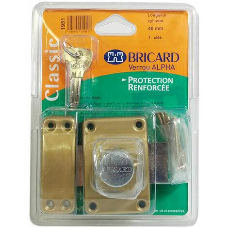Verrou de securité a bouton pour porte avec cylindre 40 mm Alpha Bricard