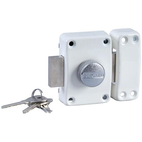 Verrou de securite blanc a bouton pour porte avec cylindre 45 mm Alpha Bricard