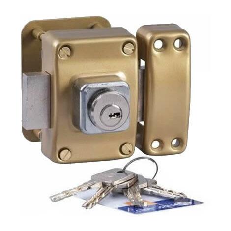 Verrou de securite pour porte Bricard Cylindre Astral double entree 42 mm 3 cles Avec contre plaque