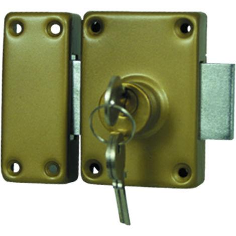 Verrou de Sûreté - 3 Clés- Canon Double-entrée - Diamètre 25mm - Bout arrondi - En Bronze