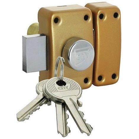 8165926fee1 Verrou de sureté à bouton CITY 25 Porte creuse 40 mm Cylindre sécurité Diam  23