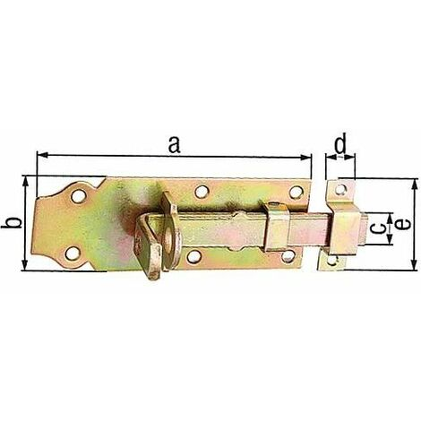 Verrou porte cadenas droit, avec passant fixe, 100x45mm jaune galva