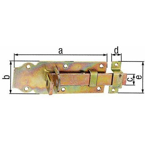 Verrou porte cadenas droit, avec passant fixe, 140x55mm jaune galva